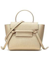 Céline Ladies Nano Belt Bag In Laminated Calfskin - Metallic