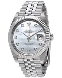 Rolex Oyster Perpetual Datejust White Mother Of Pearl Diamond Dial Mens Watch - Metallic