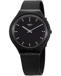 Swatch Skinero Black Dial Ladies Silicone Watch