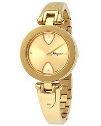 Ferragamo Gilio Goldtone Stainless Steel Bangle Bracelet Watch - Metallic