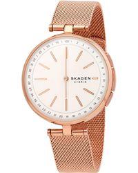 Skagen Hybrid Signatur T-bar Quartz White Dial Smart Watch - Pink