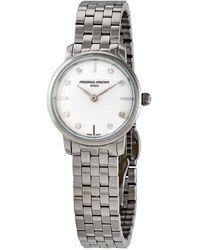 Frederique Constant Slimline Quartz Diamond White Dial Ladies Watch -200stds6b - Metallic