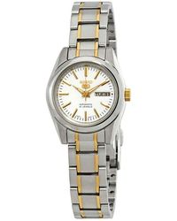Seiko Series 5 Automatic White Dial Ladies Watch - Metallic