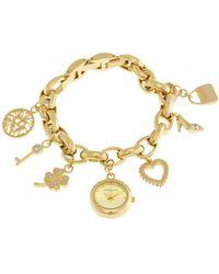 Anne Klein Gold-tone Dial Gold Tone Charm Bracelet Ladies Watch -7604chrm - Metallic