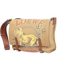 Loewe Lion And Logo Print Crossbody Bag - Natural
