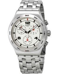 Swatch Silver Again Chronograph Silver Dial Mens Watch - Metallic