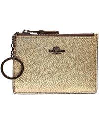 COACH Platinum Ladies Mini Skinny Id Case - Metallic