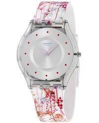 Swatch Jardin Fleuri Silicone Ladies Watch - Metallic