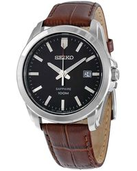 Seiko Black Dial Brown Leather Mens Watch - Multicolour