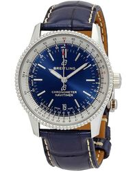 Breitling A17325211c1p1 Navitimer 1 Steel And Leather Watch - Blue