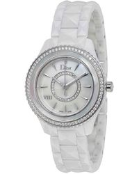 Dior Viii Automatic Diamond Mother Of Pearl Dial White Ceramic Ladies Watch - Metallic