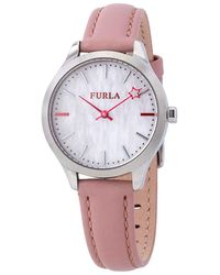 Furla Like White Mother Of Pearl Dial Ladies Watch - Metallic