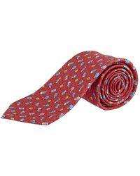 BVLGARI Pictorial Ice Cream Print Tie - Red