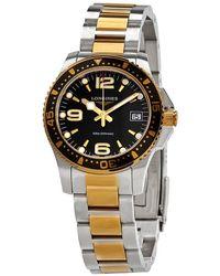 Longines Hydroconquest Quartz Black Dial Watch - Metallic