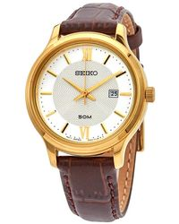 Seiko Neo Classic Quartz Ladies Leather Watch - Metallic