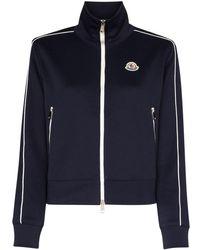 Moncler Ladies Technical Jersey Cardigan In Dark Blue, Brand