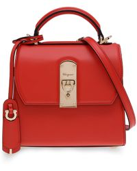 Ferragamo Small Boxyz Leather Top Handle Bag - Red