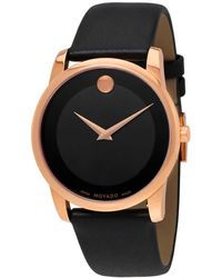 Movado - Museum Classic Black Dial Mens Leather Watch - Lyst