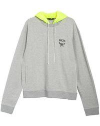 MCM Ladies Grey Luccent Nylon Hood Pullover Logo Sweatshirt, Brand