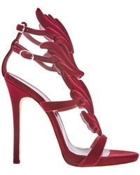 Giuseppe Zanotti Ladies High Heel Pump Burgundy Cruel Velvet Sandals - Red