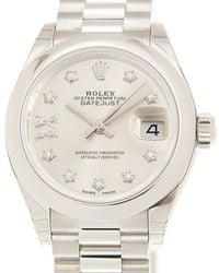 Rolex Lady-datejust 28 Silver Dial Platinum President Automatic Ladies Watch srdp - Metallic