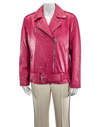 Michael Kors Ladies Crinkled Leather Moto Jacket, Brand - Red