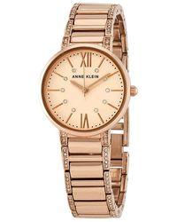 Anne Klein Rose Dial Ladies Watch - Metallic