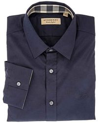 Burberry Mens Woven Solid Navy Shirt - Blue