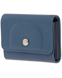 Longchamp Ladies Card Case Le Pliage Cuir Teal Blue