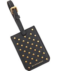 Burberry Studded Leather Luggage Tag In Black