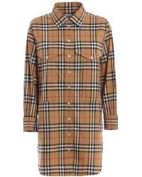 Burberry Ladies Vintage Check Cotton Oversized Shirt - Natural