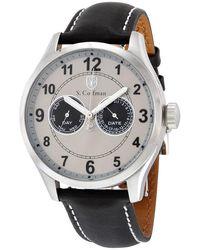 S. Coifman S. Coifman Multifunction Grey Dial Black Leather Mens Watch - Metallic