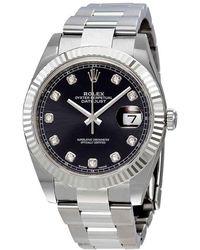 Rolex Oyster Perpetual Datejust Black Diamond Dial Watch - Metallic