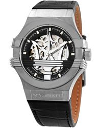 Maserati Potenza Automatic Black Skeleton Dial Mens Watch - Metallic