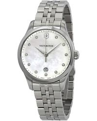 Victorinox Alliance Small Crystal White Mother Of Pearl Dial Ladies Watch - Metallic