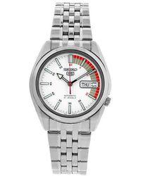 Seiko 5 Automatic White Dial Mens Watch - Metallic