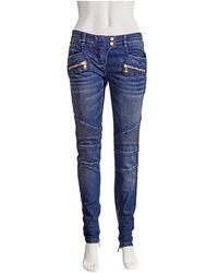Balmain Ladies Blue Denium Biker Jeans
