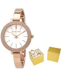 Michael Kors Jayrn Quartz Crystal Mother Of Pearl Dial Ladies Watch - Metallic