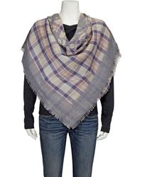 COACH Ladies Horse And Carriage Plaid Print Sqaure Scarf - Gray