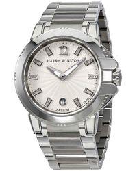 Harry Winston Ocean Sport Silver Diamond Dial Zalium Ladies Watch - Metallic