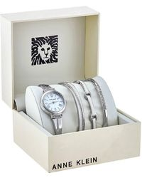 Anne Klein White Glossy Dial Ladies Watch And Bracelet Set