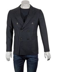 Burberry Mens Serpentine Navy Check Double Breasted Peak Lapel Wool Blazer - Blue