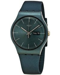 Swatch Ashbayang Green Dial Green Silicone Watch