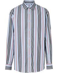 Burberry Mens Heritage Stripe Shirt - Blue