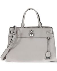 Michael Kors Gramercy Large Pebbled Leather Satchel - Gray