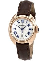 Cartier - Cle Automatic Flinque Sunray Dial Ladies Watch - Lyst