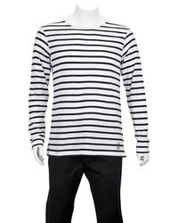 Burberry - Mens White Blue Hadworth Striped Cotton-jersey Top T-shirt, Brand - Lyst