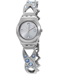 Swatch Silver Hug Quartz Silver Dial Ladies Watch - Metallic