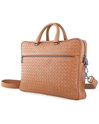 Bottega Veneta Mens Intrecciato Weave Leather Briefcase - Brown