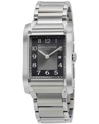 Baume & Mercier Baume And Mercier Hampton Black Dial Stainless Steel Ladies Watch - Metallic